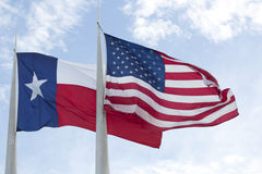 America and  Texas state  flags Stock Image