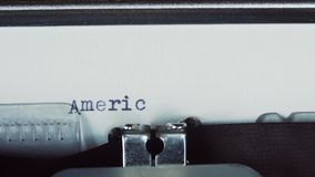 AMERICA - Typed on a old vintage typewriter.  stock video