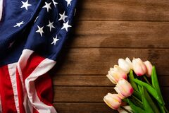 America United States flag and tulip flower