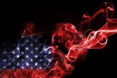 America, usa, national smoke flag. National smoke flag of America, usa, United States isolated on black background Stock Image