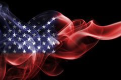 America, usa, national smoke flag. National smoke flag of America, usa, United States isolated on black background Royalty Free Stock Image