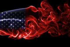 America, usa, national smoke flag. National smoke flag of United States of America isolated on black background Royalty Free Stock Photography