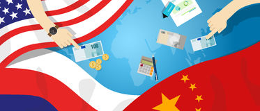 America USA Russia China relation international business trade cold war bargain. Vector Royalty Free Stock Photography