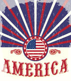 America Vintage flag poster - Card, western Stock Photography