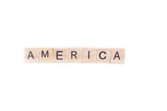 AMERICA word on square tile Stock Image