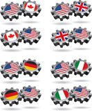 America Works With Canada, Britain, Germany, and I. Show a little national, and international cooperation with these gears of friendship. Mix and match this stock illustration