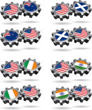 America Works With New Zealand, Scotland, Ireland,. Show a little national, and international cooperation with these gears of friendship. Mix and match this royalty free illustration