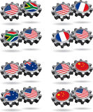 America Works With South Africa, France, Australia. Show a little national, and international cooperation with these gears of friendship. Mix and match this vector illustration