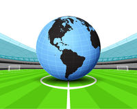 America world globe in the midfield of football stadium vector Royalty Free Stock Photography