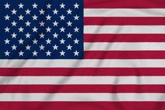 Americafrom美国的旗子工厂编织了织品 背景和纹理 免版税库存图片