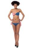 Americal flag bikini model on white background Stock Photos