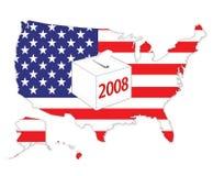 American 2008 elections. USA flag map and 2008 ballot box Royalty Free Stock Image