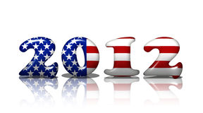 American in 2012. The word 2012 in the American flag colors, American in 2012 Royalty Free Stock Photo