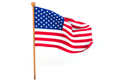 American 3d flag. American flag waving on white background. 3D image Royalty Free Stock Image