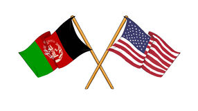 American and afghan alliance and friendship. Cartoon-like drawings of flags showing friendship between Afghanistan and USA Stock Photo