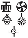 American and african  symbols - Indians. Five different native American and african  symbols - Indians Stock Photo