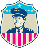 American Airline Pilot Aviator USA Flag Shield Retro Royalty Free Stock Image