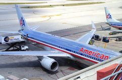 American Airline. Planes in Miami International Airport, Florida USA stock photos