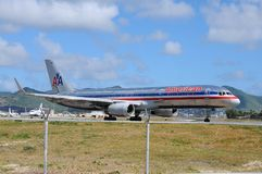 American Airline on Princess Juliana airport Royalty Free Stock Photos