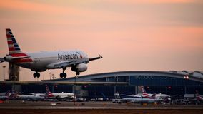 American Airlines Airbus airplane coming in for a landing. royalty free stock photography