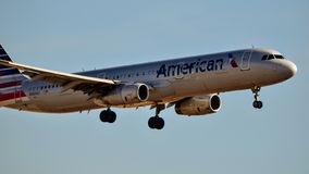 American Airlines Airbus A320 coming in for a landing royalty free stock photography