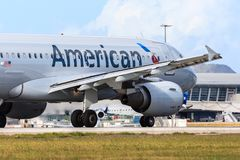 American Airlines Airbus A319. Departing from St. Maarten in the Caribbean Stock Photo