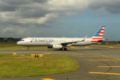 American Airlines Airbus 321 no aeroporto de Nanjing Imagens de Stock