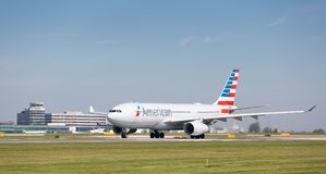 American Airlines Airbus A330-243 preparing to take off at Manchester Airport Royalty Free Stock Image