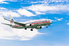 American Airlines aircraft preparing for landing. Montego Bay, Jamaica - February 19 2017: American Airlines aircraft preparing to land at the Sangster stock image