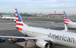 American Airlines aircraft at terminal, New York City Royalty Free Stock Photo