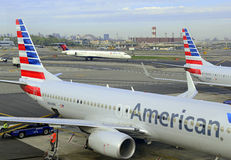 American Airlines aircraft at terminal, New York City Stock Photos