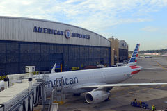 American Airlines aircraft at terminal, New York City Stock Image