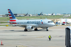 American Airlines airplane taxiing at airport Stock Image