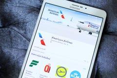 American airlines APP sur le jeu de Google Images libres de droits