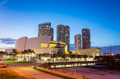 American Airlines Arena at night Royalty Free Stock Photo