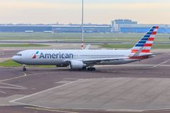 American Airlines Boeing 767 royaltyfria foton
