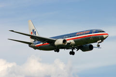 American Airlines Boeing 737 landing Royalty Free Stock Photo
