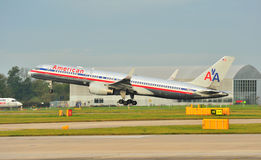 American Airlines Boeing 757. Taking off at Manchester Airport stock photo