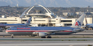 American Airlines Boeing 767 airliner at Los Angeles International Airport. Stock Photo