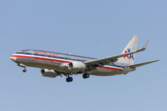 American Airlines Boeing 737 airplane on approach to land at Los Angeles International Airport. Stock Image
