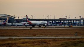 American Airlines Boeing 777 airplane ready for takeoff royalty free stock photo