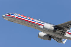American Airlines Boeing 757 airplane takes off from Los Angeles International Airport. Stock Images