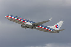 American Airlines Boeing 737 airplane takes off from Los Angeles International Airport. Stock Photos