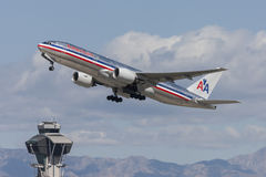 American Airlines Boeing 777 airplane taking off from Los Angeles International Airport. Stock Image