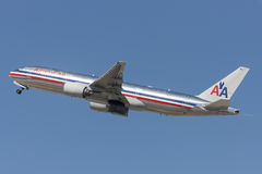 American Airlines Boeing 777 airplane taking off from Los Angeles International Airport. Royalty Free Stock Photos