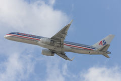 American Airlines Boeing 757 airplane taking off from Los Angeles International Airport. Stock Image