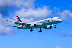 American Airlines Boeing 757. Boeing 757 of American Airlines approaching to land royalty free stock image