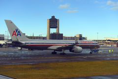 American Airlines Boeing 757 at Boston Airport Stock Photography