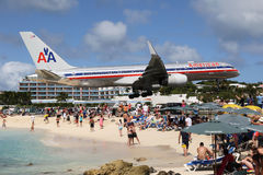 American Airlines Boeing 757 landing St. Martin Royalty Free Stock Image