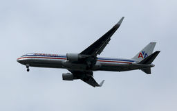 American Airlines Boeing 767 in New York sky before landing at JFK Airport Royalty Free Stock Image